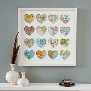 Bespoke Multi Heart Map Art - frequent traveller
