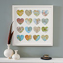 Sixteen Map Location Hearts Wedding Anniversary gift white frame