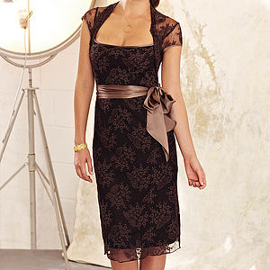 Lace Occasion Dress With Forties Neckline In Mocha - dresses