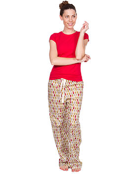 Leaf Organic Pyjama Trouser in Crimson/Gold