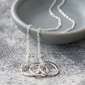 Personalised Mini Circle Necklace - 25th anniversary: silver