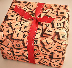 Scrabble Wrapping Paper - ribbon & wrap