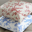 Linen Bird And Flower Cushion