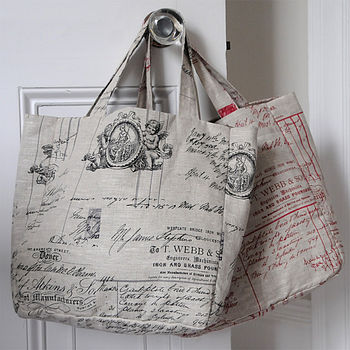 Cherub And Script Linen Shoulder Bag
