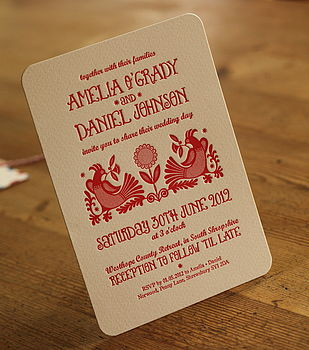Quirky Letterpress Wedding Invitations