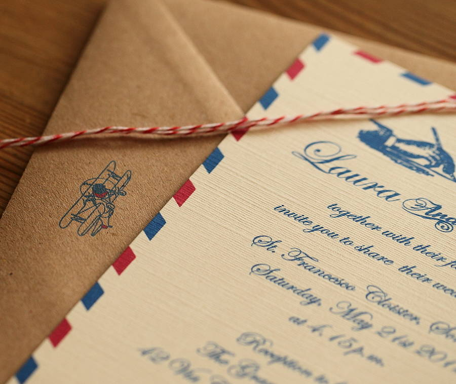 Airmail Wedding Invitations: Vintage Airmail Wedding Invitations By Artcadia