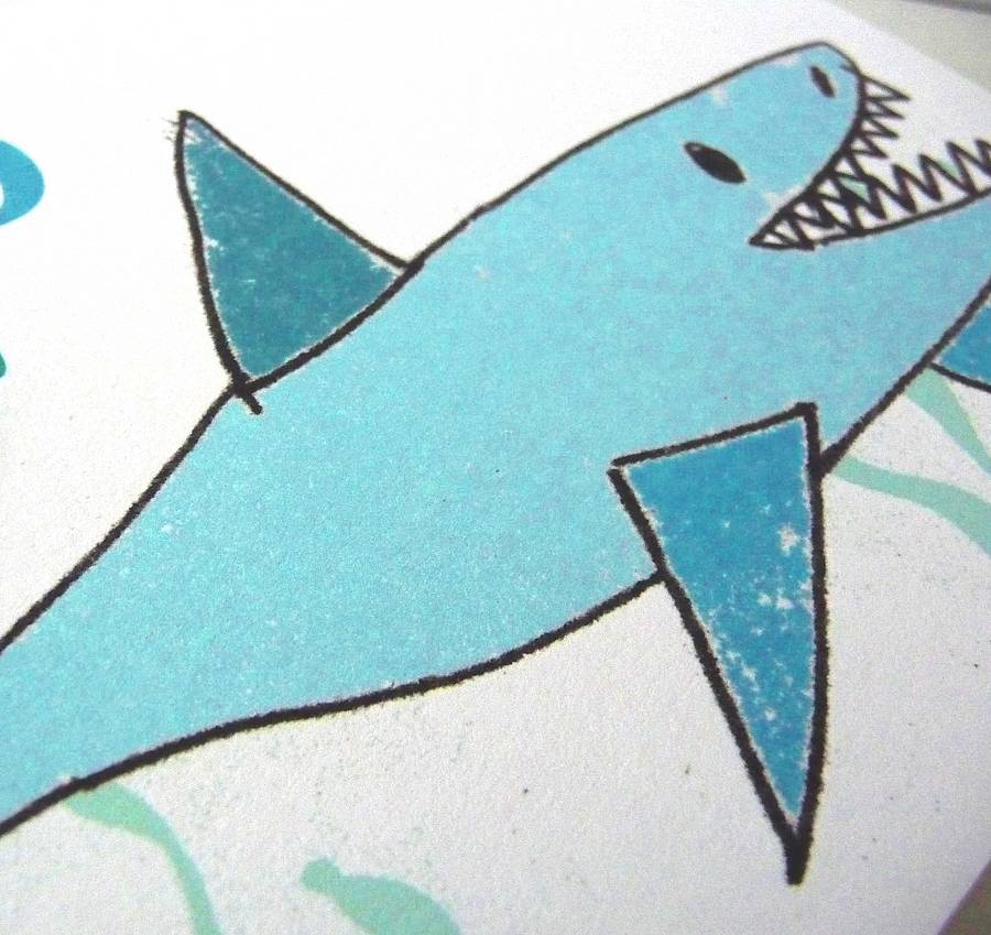 personalised shark boy's birthday card by molly moo designs, Birthday card