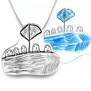 Silver pendant from YOUR child's drawing