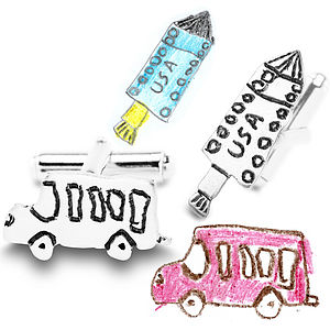Shaped Silver Cufflinks From YOUR Child's Art - cufflinks