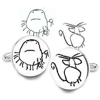 Round Silver Cufflinks From YOUR Child's Art