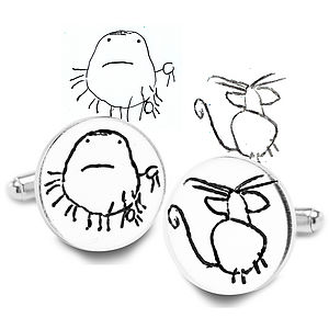 Round Silver Cufflinks From YOUR Child's Art - cufflinks