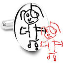 Oval Silver Cufflinks From YOUR Child's Art