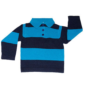 100% Pure Cashmere Blue Striped Jumper - clothing