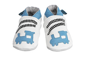 Handmade Train Soft Leather Baby Shoes - clothing