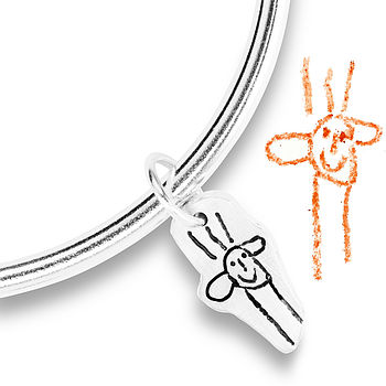 Silver Charm Bangle From YOUR Child's Art
