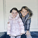 French Design Girls Down Puffer With Bows