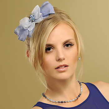 Belle Bow Headpiece - Blue (two tone)