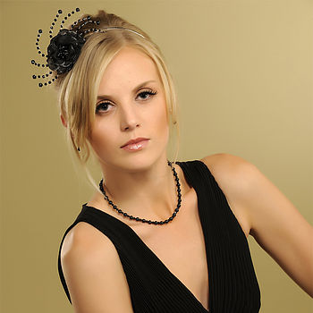 Lola Flower Headpiece - Black