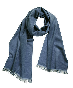 Cashmere Silk Scarf in Blue Stone