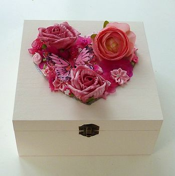 Pink Floral Heart Keepsake Box