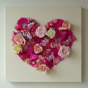 Ivory And Pink Floral Heart Canvas