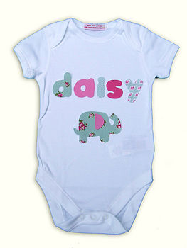 Girl's Personalised Applique Motif Baby Grow