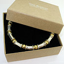 Gold and Silver Beaten Bead Bracelet