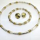 Silver & Gold Beaten Bead Earrings
