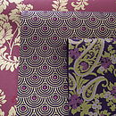 Pink & Gold Rose, Purple Fan & Purple Paisley Gift Wrap