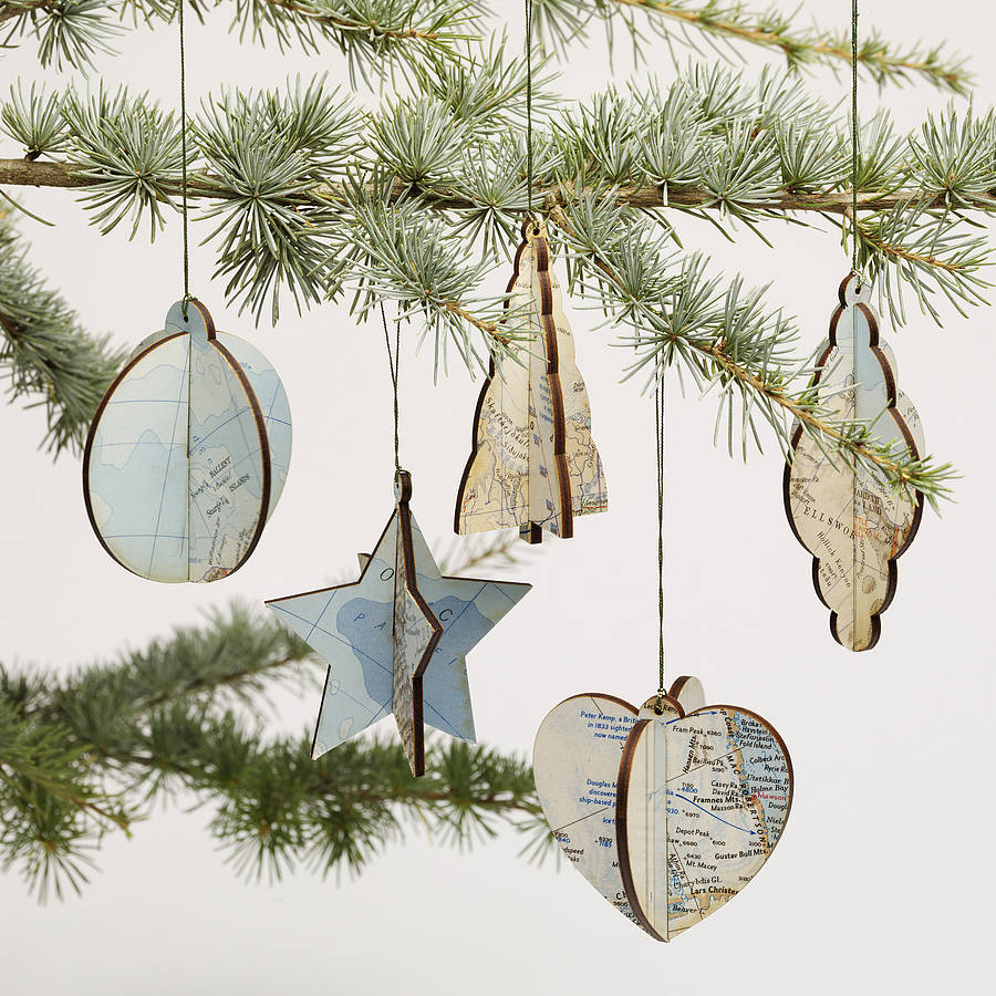 Vintage Map Christmas Decorations By Bombus