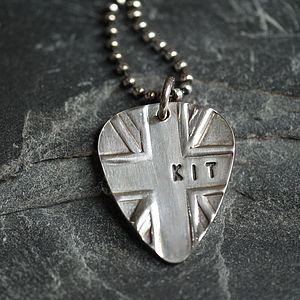 Personalised Silver Union Jack Plectrum - gifts for teenagers