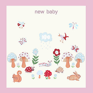 New Baby Girl Woodland Forest Card