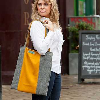 Harris Tweed Colour Block Tote Bag