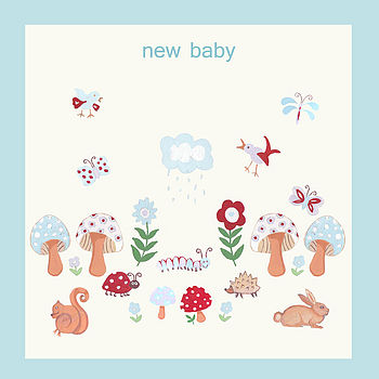 New Baby Boy Woodland Scene Card