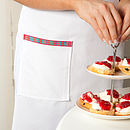 Cotton Drill Bib Apron With Tartan Ties