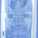 Personalised Vintage Year Engraved Glass Tankard Close Up Of Design