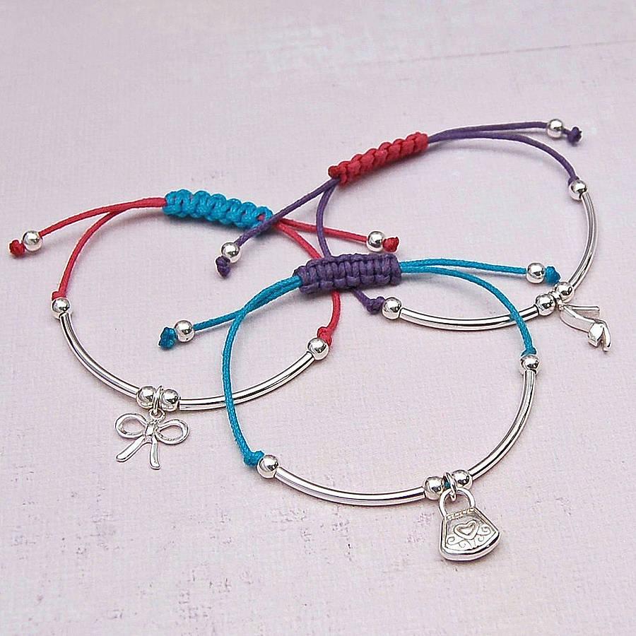 Girls Silver Charm Friendship Bracelet
