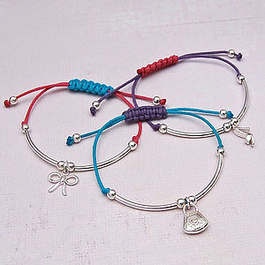 Girls Silver Charm Friendship Bracelet
