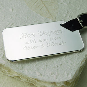 Personalised Silver Plated Luggage Tag - luggage