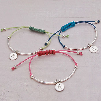 Girls Silver Personalised Friendship Bracelet