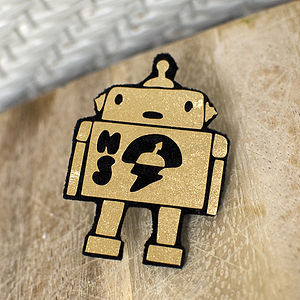 Personalised Gold Robot Pin - children's jewellery