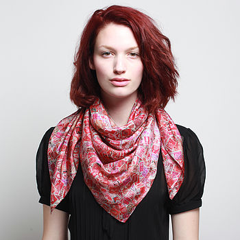 Par Avion Silk Scarf - Square - Red