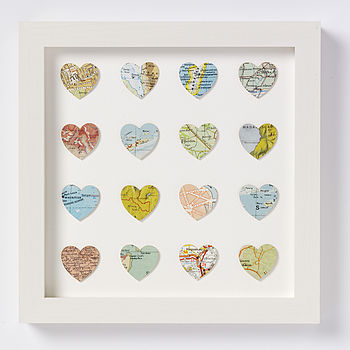 Love Heart Vintage Map Art