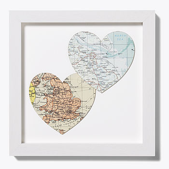 Bespoke map heart duo off white frame