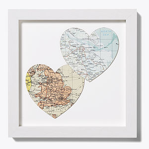 Bespoke Map Heart Duo - pictures, prints & paintings