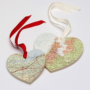 Personalised Vintage Map Heart - anniversary gifts