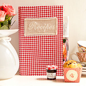 Vintage Gingham Recipe Book Storage Box - storage boxes & baskets