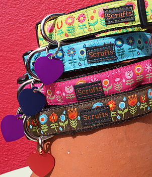 Scrufts Tiny Garden Dog Collar And Tag