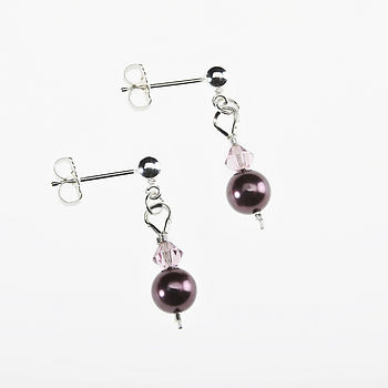 Crystal and Pearl Earrings - Purple