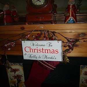 Personalised Vintage Family Christmas Sign - hanging decorations